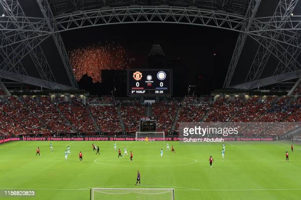 General view of the match as fireworks light up the sky for the National Day Parade preview during the 2019 International Champions Cup match between...
