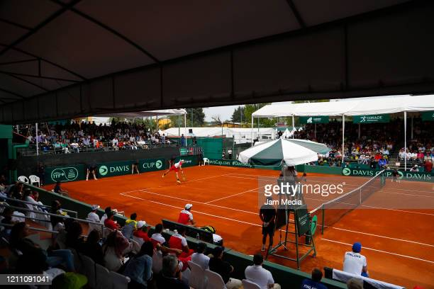 General view of the match as part of day 2 of Davis Cup World Group I Play-offs at Club Deportivo La Asuncion on March 7, 2020 in Mexico City, Mexico.
