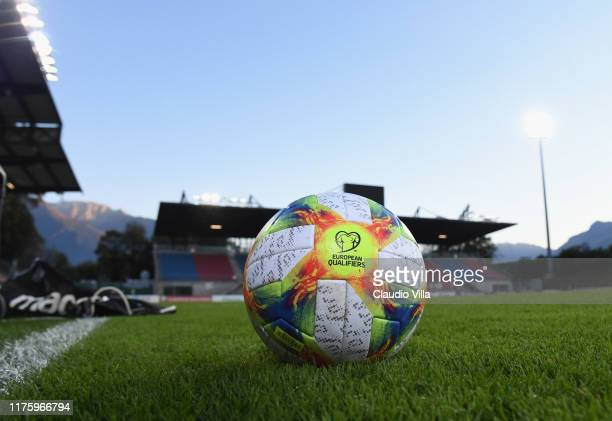 General view of the match ball during a Italy training session at Rheinpark Stadion on October 14, 2019 in Vaduz, Liechtenstein.