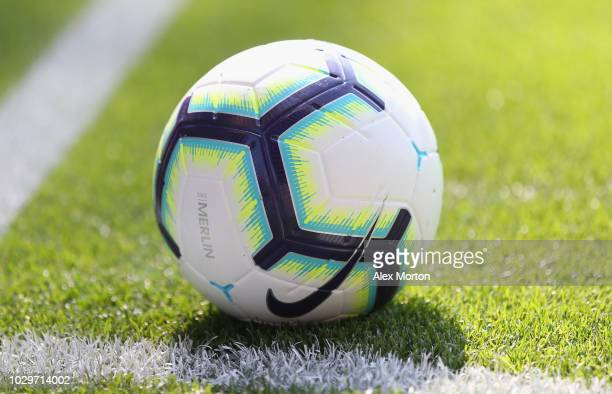 General view of the match ball during the Premier League match between Crystal Palace and Southampton FC at Selhurst Park on September 1 2018 in...