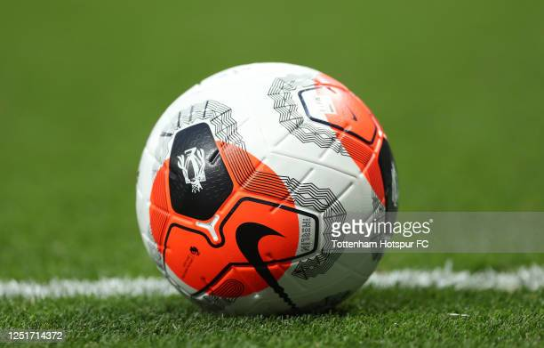 General view of the match ball during the Premier League match between Tottenham Hotspur and West Ham United at Tottenham Hotspur Stadium on June 23,...
