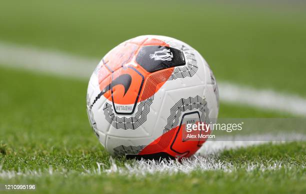 General view of the match ball during the Premier League match between Arsenal FC and West Ham United at Emirates Stadium on March 07, 2020 in...