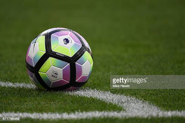 A general view of the match ball during the Premier League match between West Ham United and Middlesbrough at London Stadium on October 1 2016 in...