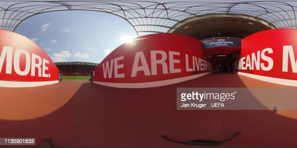 General view of the match ball during the UEFA Champions League Quarter Final first leg match between Liverpool and Porto at Anfield on April 09 2019...