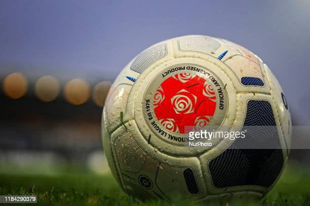 General view of the match ball during the Vanarama National League match between Hartlepool United and Boreham Wood at Victoria Park, Hartlepool on...