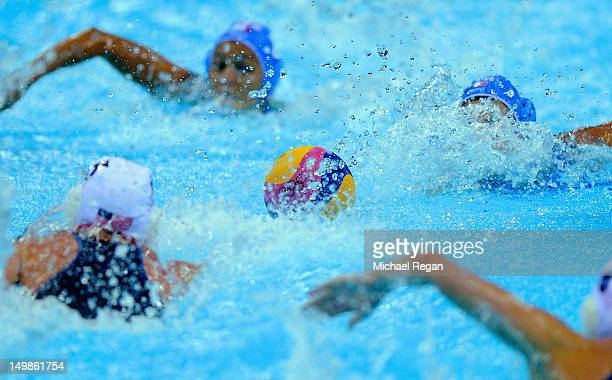 A general view of the match ball during the women's water polo quarter final between Italy and the United States on Day 9 of the London 2012 Olympic...