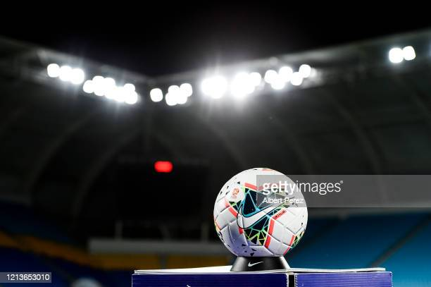General view of the match ball is seen during the round 27 A-League match between the Brisbane Roar and the Newcastle Jets at Cbus Super Stadium on...