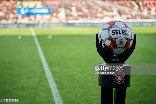 General view of the match ball on the stand prior to the Danish Superliga match between FC Midtjylland and OB Odense at MCH Arena on April 14 2019 in...