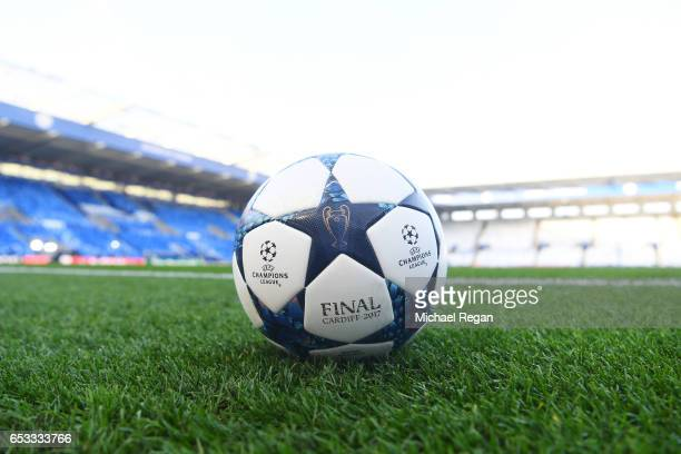 A general view of the match ball prior to kickoff during the UEFA Champions League Round of 16 second leg match between Leicester City and Sevilla FC...