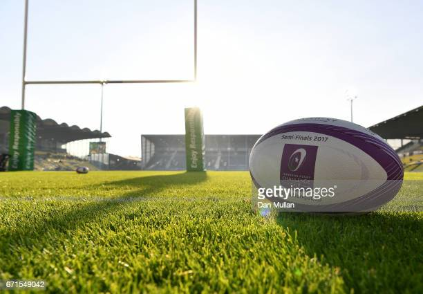 A general view of the match ball prior to the European Rugby Challenge Cup Semi Final match between La Rochelle and Gloucester Rugby at the Stade...