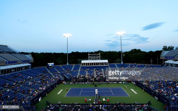 A general view of the match between Agnieszka Radwanska of Poland returns and Daria Gavrilova of Australia during Day 7 of the Connecticut Open at...
