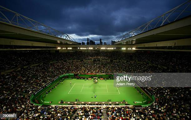 General view of the match between Andy Roddick of the USA and Marat Safin of Russia at Rod Laver Arena during day nine of the Australian Open Grand...