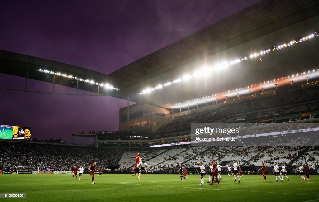 General view of the match between Corinthinas and Fluminense for the Brasileirao Series A 2018 at Arena Corinthians Stadium on April 15, 2018 in Sao Paulo, Brazil.