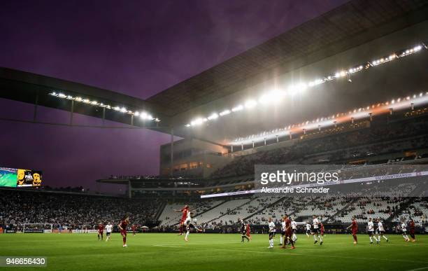 General view of the match between Corinthinas and Fluminense for the Brasileirao Series A 2018 at Arena Corinthians Stadium on April 15, 2018 in Sao...