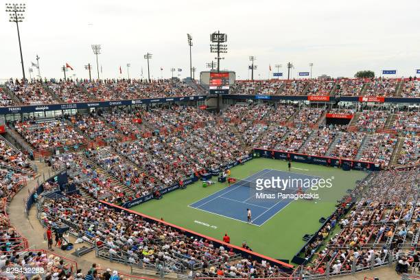 General view of the match between David Ferrer of Spain and Roger Federer of Switzerland during day seven of the Rogers Cup presented by National...