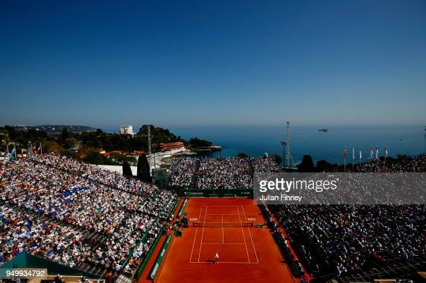 General view of the match between Kei Nishikori of Japan and Rafael Nadal of Spain during day eight of ATP Masters Series: Monte Carlo Rolex Masters...