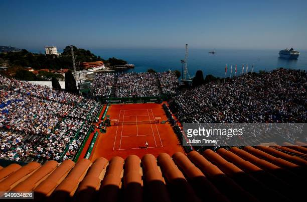 General view of the match between Kei Nishikori of Japan and Rafael Nadal of Spain during day eight of ATP Masters Series Monte Carlo Rolex Masters...
