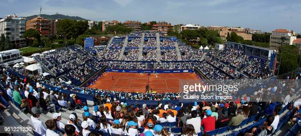 General view of the match between Roberto Carballes and Rafael Nadal of Spain during day three of the ATP Barcelona Open Banc Sabadell at the Real...