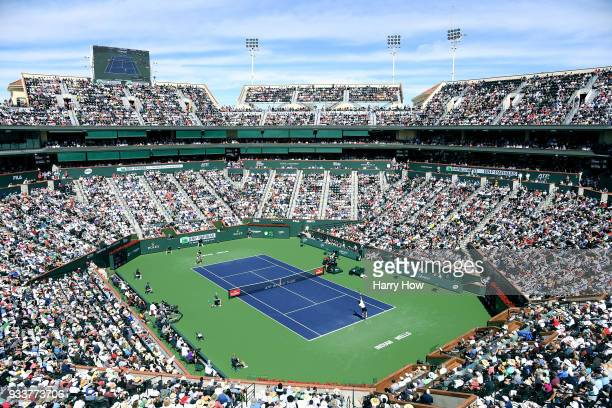 General view of the match between Roger Federer of Switzerland and Juan Martin Del Potro of Argentina in the ATP final during the BNP Paribas Open at...