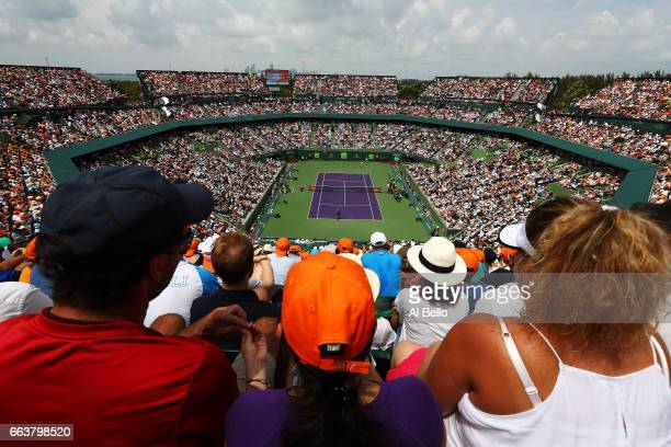 General view of the match between Roger Federer of Switzerland against Rafael Nadal of Spain during the Men's Final and day 14 of the Miami Open at...