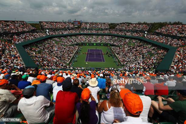 A general view of the match between Roger Federer of Switzerland against Rafael Nadal of Spain during the Men's Final and day 14 of the Miami Open at...