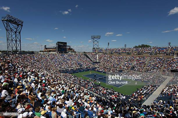 General view of the match between Sam Querrey of the United States and Nicolas Almargro of Spain at the Louis Armstrong Stadium during day seven of...