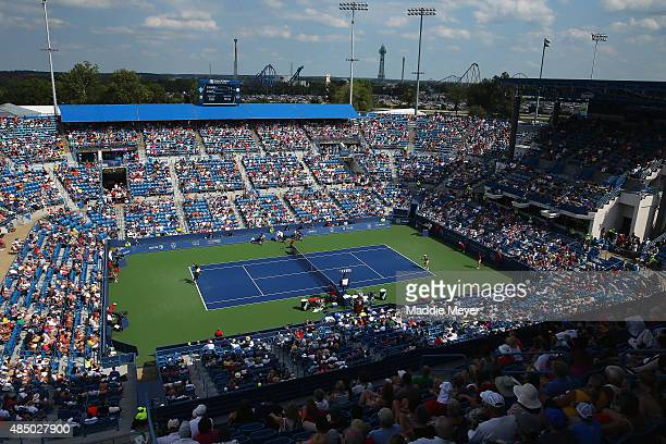 General view of the match between Serena Williams and Simona Halep of Romania during the final round on Day 9 of the Western & Southern Open at the...