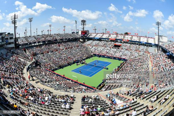 General view of the match between Simona Halep of Romania and Anastasia Pavlyuchenkova of Russia during day four of the Rogers Cup at IGA Stadium on...