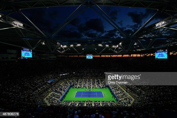 A general view of the match between Stan Wawrinka of Switzerland and Roger Federer of Switzerland during their Men's Singles Semifinals match on...