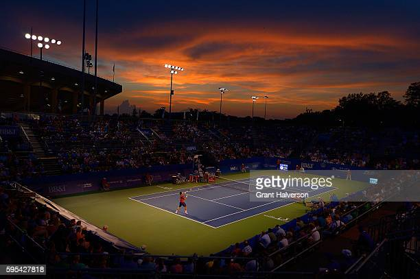 General view of the match between Victor Troicki of Serbia and Fernando Verdasco of Spain during the WinstonSalem Open at Wake Forest University on...