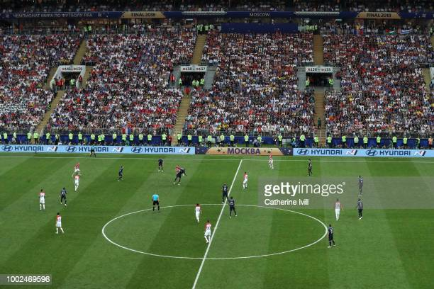 General view of the match during the 2018 FIFA World Cup Russia Final between France and Croatia at Luzhniki Stadium on July 15 2018 in Moscow Russia