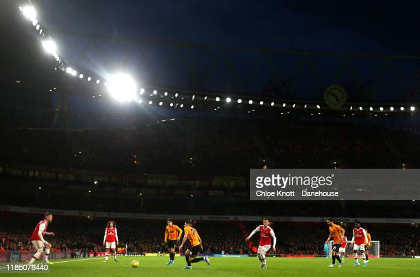 General view of the match during the Premier League match between Arsenal FC and Wolverhampton Wanderers at Emirates Stadium on November 02, 2019 in...
