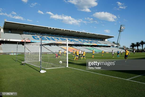 General view of the match during the round 24 ALeague match between the Central Coast Mariners and Melbourne City at Central Coast Stadium on March...