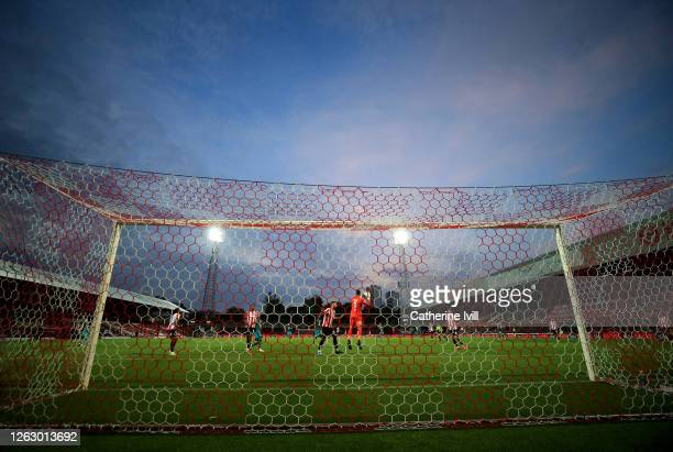 General view of the match during the Sky Bet Championship Play Off Semifinal 2nd Leg match between Brentford and Swansea City at Griffin Park on July...