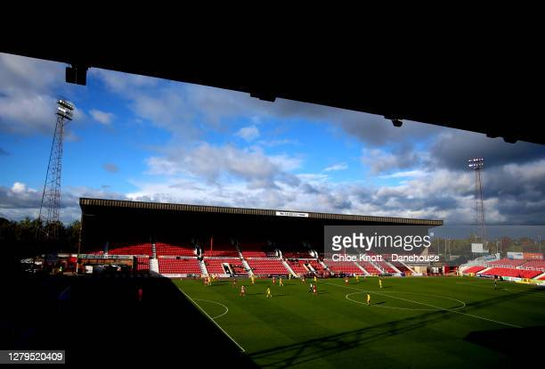 General view of the match during the Sky Bet League One match between Swindon Town and AFC Wimbledon at County Ground on October 10, 2020 in Swindon,...