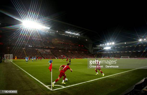 General view of the match during the UEFA Champions League group E match between Liverpool FC and SSC Napoli at Anfield on November 27, 2019 in...