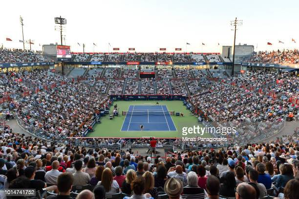General view of the match from centre court between Simona Halep of Romania and Caroline Garcia of France during day five of the Rogers Cup at IGA...