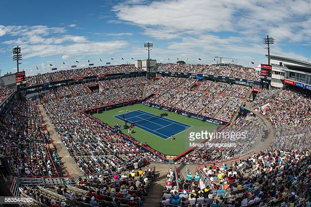 General view of the match from the stands between Lucie Safarova of Czech Republic and Eugenie Bouchard of Canada during day two of the Rogers Cup at...
