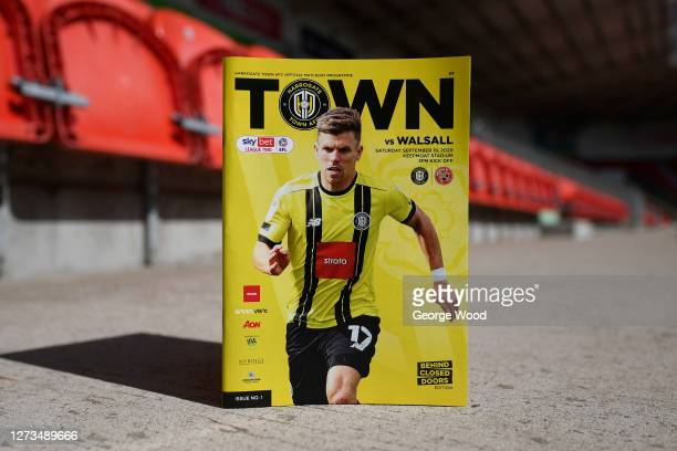 A general view of the match programme ahead of the Sky Bet League Two match between Harrogate Town and Walsall at The Keepmoat Stadium on September...