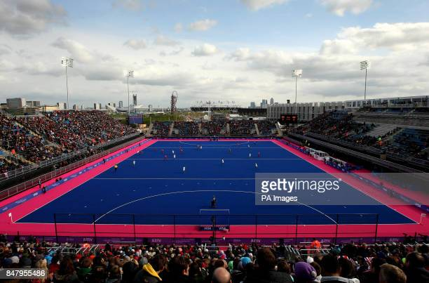 A general view of the match underway between Great Britain and Australia looking towards the Olympic Stadium during the Visa International...