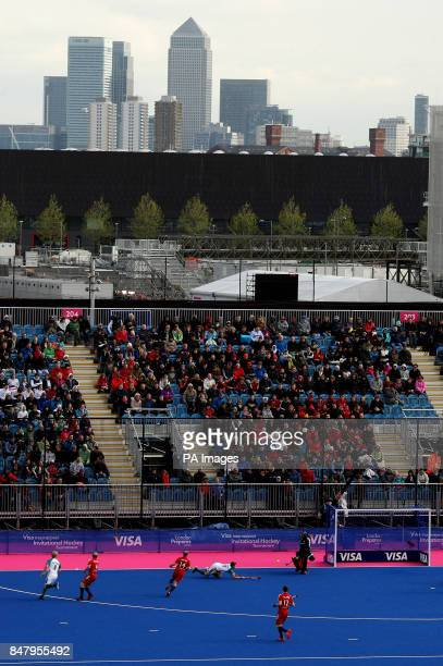 A general view of the match underway between Great Britain and Australia looking towards Canary Wharf during the Visa International Invitational...