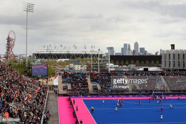 A general view of the match underway between Great Britain and Australia looking towards the Olympic Stadium and Canary Wharf during the Visa...