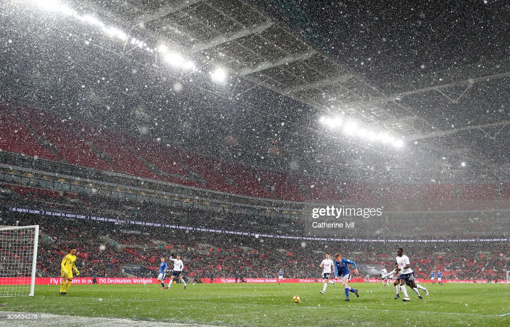 General view of the match with snow falling during The Emirates FA Cup Fifth Round Replay between Tottenham Hotspur and Rochdale on February 28, 2018 in London, United Kingdom.