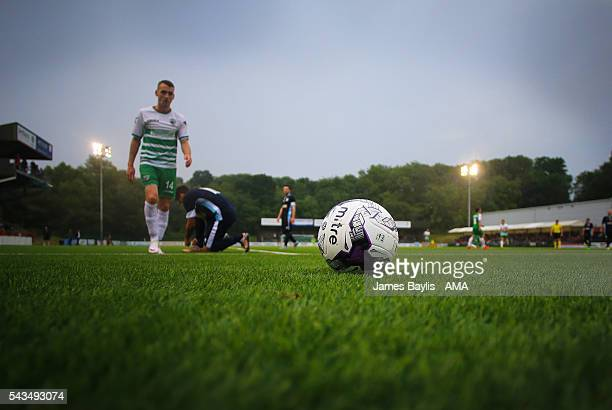 A general view of the matchball during the UEFA Champions League First Round Qualifier match between The New Saints and SP Tre Penne at Park Hall on...