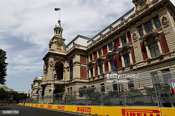 A general view of the Mayoralty of Baku building from the circuit during previews ahead of the European Formula One Grand Prix at Baku City Circuit...