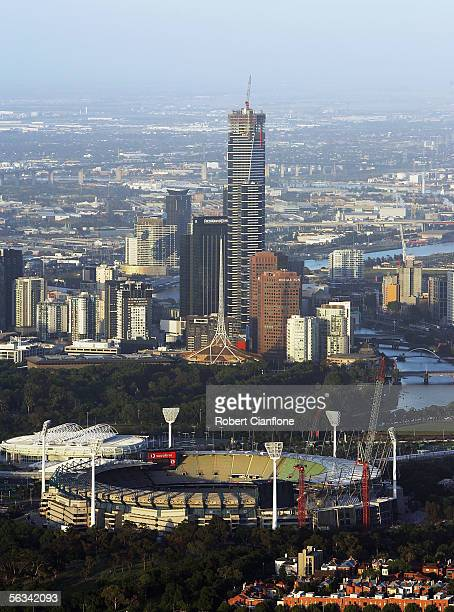 A general view of the MCG and surrounding area from a hot air balloon flying over the city of Melbourne December 5 2005 in Melbourne Australia Hot...