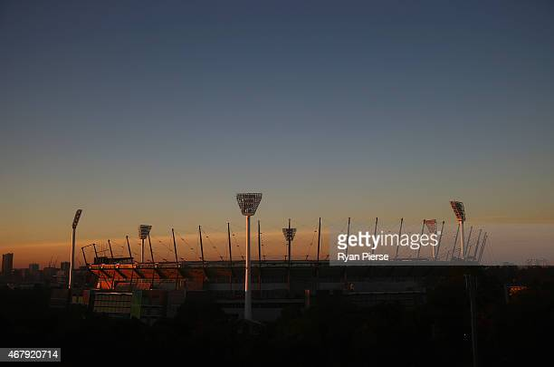 A general view of the MCG at sunrise during the 2015 ICC Cricket World Cup final match between Australia and New Zealand at Melbourne Cricket Ground...