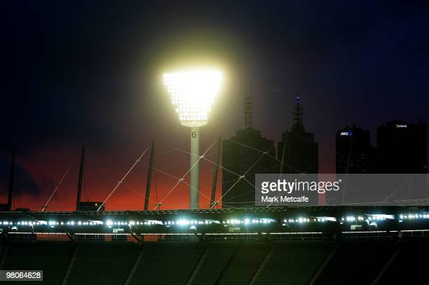A general view of the MCG during the round one AFL match between the Geelong Cats and the Essendon Bombers at Melbourne Cricket Ground on March 26...