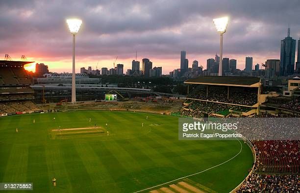 A general view of the MCG under reconstruction and Melbourne skyline at sunset during the One Day International between Australia and England at the...