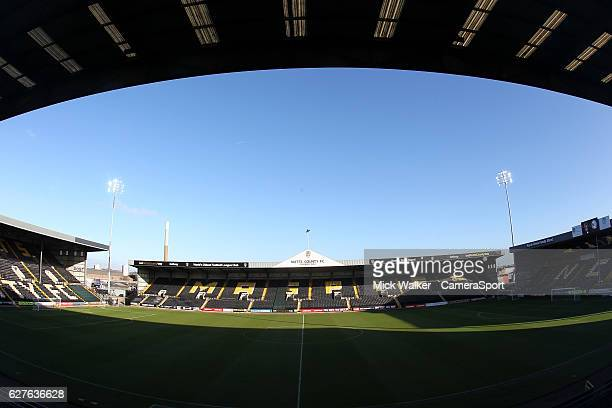 A general View of The Meadow Lane Stadium home of Notts County Football Club during the Emirates FA Cup Second Round match between Notts County and...
